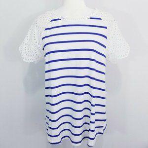 Entro Anthropology M Shirt Striped Blue White NWOT